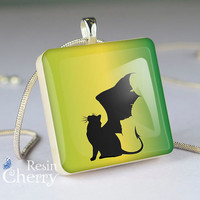 winged cat resin pendant,scrabble tile pendant,winged cat- A0133SI
