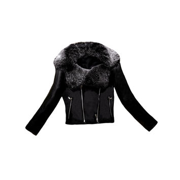 Plus Size Womens Leather Faux Fur Collar Coat Elegant Ladies PU Jacket Double Zipper Biker Jacket Slim Motorcycle Coat Outerwear SM6