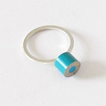 Sterling silver color pencil ring, customizable by you