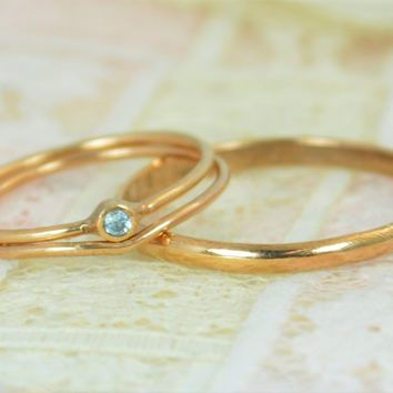 Tiny Solid 14k Rose Gold Aquamarine Wedding Ring Set