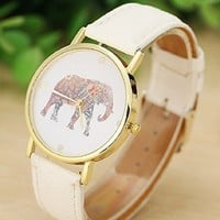 Sandistore Women Elephant Printing Pattern Weaved Leather Quartz Dial Watch