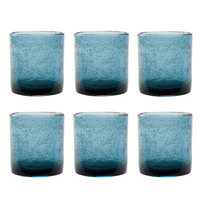 TAG 555410 Teal Bubble Glass Double Old Fashioned, Set of 6