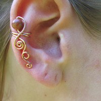 Goldstone Copper Wire Simple Spiral Ear Cuff- Sparkly Beaded Wire Wrapped Earring- Handmade Healing Gemstone Goddess Wedding Jewelry