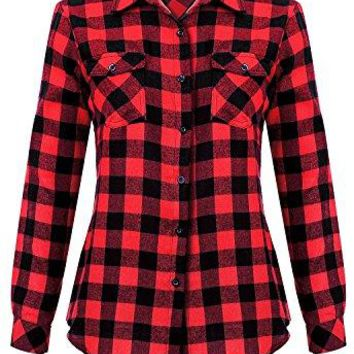 Mixfeer Womens Roll up Long Sleeve Plaid Button Down Casual Shirt