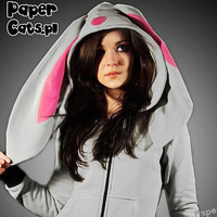 Bunny Hoodie Animal lolita cotton ear gray pink kawaii