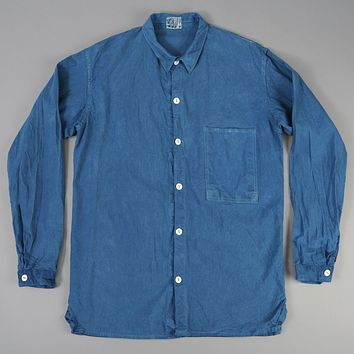 Square Tail Long Sleeve Shirt, Woad Calico