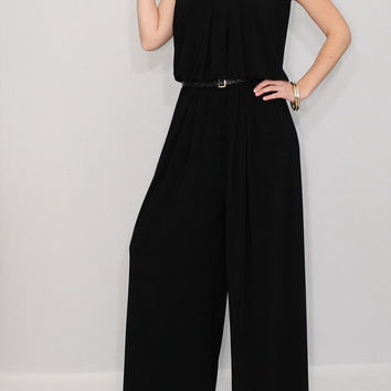 Black jumpsuit women Wide leg jumpsuit Halter jumpsuit