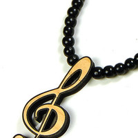 G Clef Musical Symbol Wood Pendant