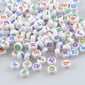 400PCs Mixed colour Acrylic Russian Alphabet/Letter Flat Round Pony Beads For Jewelry Making 7x4mm YKL0567