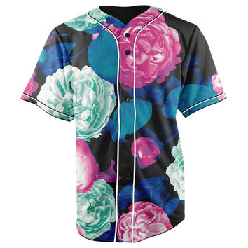 Neon Roses Button Up Baseball Jersey