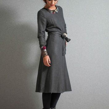 Midi Dress, Grey dress, Preppy dress,collar dress, velvet horses, cuffs dress
