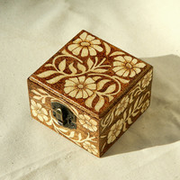 Beautiful wooden pyrography keepsake box richly decorated with flowers and hearts