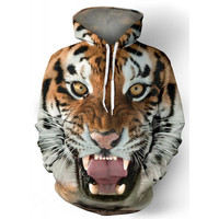 Drawstring Hooded Front Pocket Cool 3D Tiger Print Long Sleeves Men's Loose Fit Hoodie