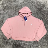 Champion new fashion bust embroidery logo women loose leisure long sleeve top sweater Pink