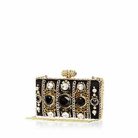Black chain and gem box clutch bag - clutch bags - bags / purses - women