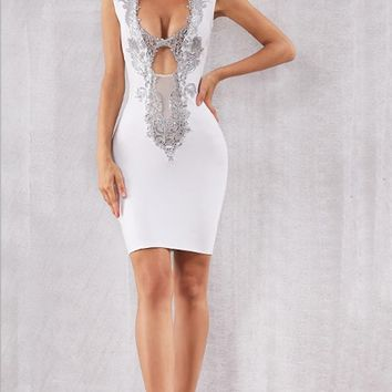 Night Of Passion White Sleeveless Sequin Plunge V Neck Sheer Mesh Cut Out Bodycon Bandage Mini Dress - 6 Colors Available