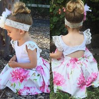 Girls Dress Kids Baby Floral Print Lace Princess Dress+Headband Set Clothes dresses drop shipping