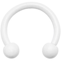 16 Gauge White Horseshoe Circular Barbell 5/16"
