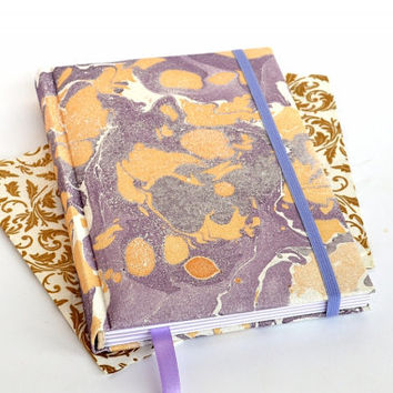 Marble notebook Textile cover notebook Fabric cover journal Marbled copybook Marbled journal Sketch book Blank book Lavender and gold