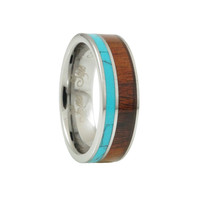 Turquoise Hawaii KOA Inlay tungsten Wedding Band-6mm
