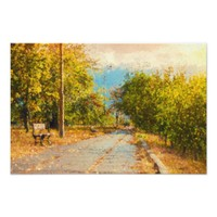 Green Leaves Walking Path Painting Photo Prints