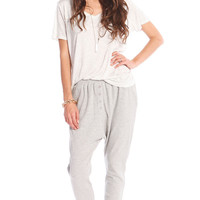 BUTTON DOWN DROP CROTCH JOGGER PANTS - GREY