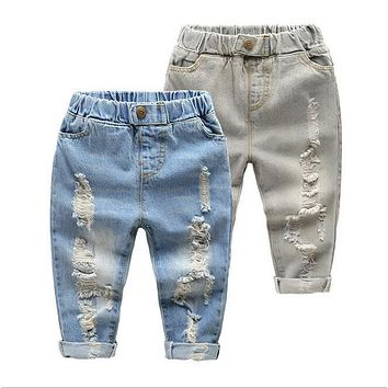 2017 Spring Autumn Children Babies Girls Boys Jeans Broken Cool Jeans Trousers Boys Clothing Girls Toddler Trouser free shipping