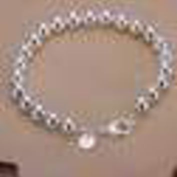 Womens 925 Sterling Silver 8mm Beads Ball String Chain Fashion Bracelet #B432