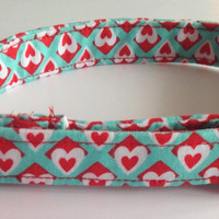 "Aqua Valentines Day Collar with Red and White Hearts for Dogs and Cats-""Be My Valentine"""