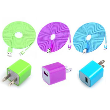 Colorful 3PCS USB Data Sync Charging Cable Cord And 3PCS USB Power Adapter Wall Charger For Iphone 5