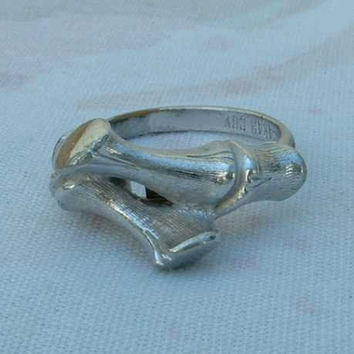 Sarah Coventry Bamboo Ring 1970s Adjustable Vintage Jewelry