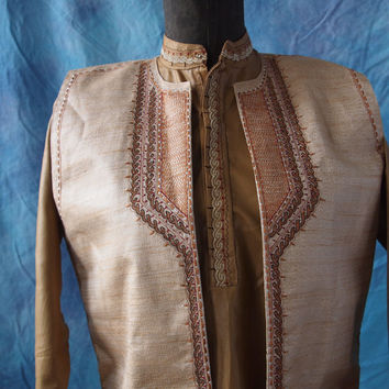 Vintage Indian Boy's Gold Shirt and Vest Gold Embroidered Neru Collar Size 10