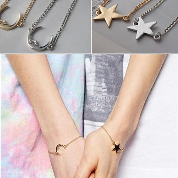 New Moon And Star Braclet Gold Boho Hippie Bohemian Bangle Sister's Bracelet Women's Jewelry = 1928791748