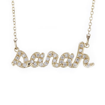 14k gold petite diamond name necklace from personalized. Black Bedroom Furniture Sets. Home Design Ideas
