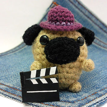 Amigurumi Pug, crochet Pug Movie director with clapper and cute hat. Pug plushie,crochet Pug. Movie Director Pug