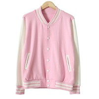 Your Gallery Women's Stylish Colorblock Varsity Baseball Bomber Jacket XX-Large Pink