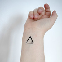 Temporary Tattoo Triangle - Geometric, Black, For Him, Unique, Tiny Tattoo, SET OF 3
