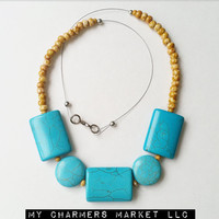 Turquoise Necklace, Turquoise Beaded Necklace, Blue Beaded Necklace, Turquoise and Camel Necklace, Chunky Turquoise Necklace, Statement