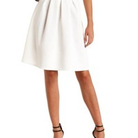 PLEATED HIGH-WAISTED SKATER MIDI SKIRT
