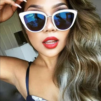 Oversized Cat Eye Blue Mirrored Sunglasses  - Clara