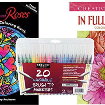 Sargent Art Washable Firm Brush Tip Markers in a Case, Set of 20 and 2 Dover Adult Coloring Books, In Full Bloom, and Stained Glass Hearts & Roses: Stress Relieving Patterns to Relax and Enjoy!