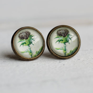 Thistle Earrings ...  Vintage Botanical Print Scottish Celtic
