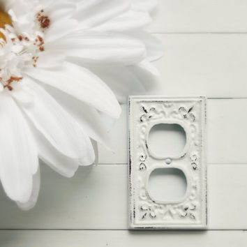 Light Socket Cover / Outlet Cover / Outlet Plate / Wall Outlet Cover / Metal Wall Decor / Shabby Chic Outlet Cover / French Country Decor