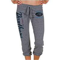 Carolina Panthers Ladies Football Script Tri-Blend Cropped Pants - Gray