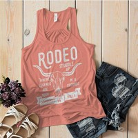 Women's Rodeo Tank Cowboys Vs. Bulls Shirt Vintage Cow Skull Graphic Top Straddle Up