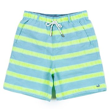 Youth Cruiser Stripe Dockside Swim Trunk in Antigua Blue by Southern Marsh