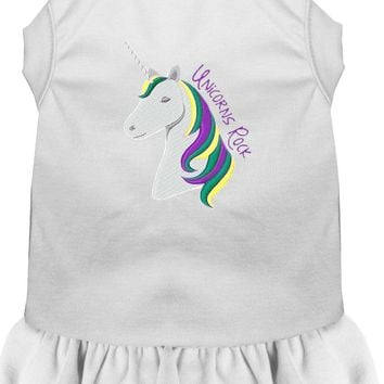 Unicorns Rock Embroidered Dog Dress White Xxxl (20)