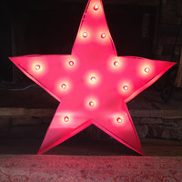Marquee lighted custom pink Star, 28 inch, hot pink lights