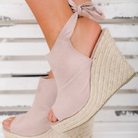 Sanjay Faux Suede Wedges (Blush)