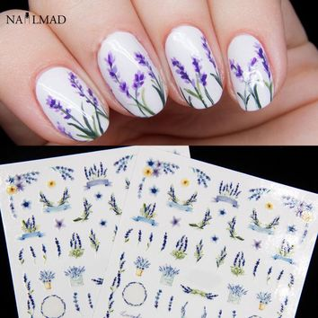 1sheet  Nail MAD Lavender Blossom Nail Stickers Dried Flower Nail Art Adhesive 3D Stickers